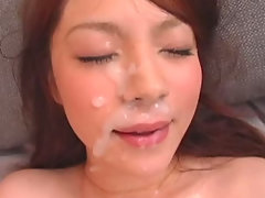 Rina Koizumi received a lot of cum facials in this movie. She got her face covered with cum after sucking cock and fucking and even while playing with her cunt.video