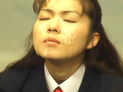 Japanese schoolgirls get messy bukkake facials.video