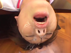 Miku Mochida sucks cock and gets her face plastered with cum.video
