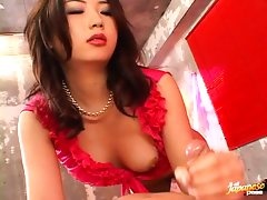 Hatsumi Kudo is a horny Japanese slut that loves cock. She gets to have her fill as two of her fuck buddies stop by and take turns filling her luscious lips with their beefy dicks until they cum hard.video