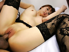 Himena Ebihara is a hot Japanese hot milf, She is busty, and sexy in her black lingerie. She has a nice shaved cunt that the guys enjoy licking, and fingering her wet snatch. She enjoys cock sucking, and she is good at it in position 69 she takes a cock into her ready mouth and clamps her lips tight as she inserts his hot cock and swallows it down!  When they are done licking and suckinh each other, he gets her into a doggy-style fucking for a drippy cream pie!video