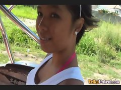 Dark-skinned Filipina girl Trixie picked up by foreigner driving Trike himselfvideo