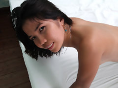 Freaky Filipina slut jumps in bed for sex with male touristvideo