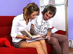 Sometimes being a cute tutor can be difficult, guys just do not want to pay attention. But once he pulls out his dick he has her undivided attention. Shyly at first and then with more gusto this cute teen shows she knows how to suck cock. Once his dick is harder then trigonometry he pushes it deep in her pussy and fucks the shit out of her in several positions. He makes that snatch throb with his thrusts until shooting cum on her.video