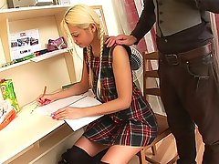 Everyone loves blonde teen girls because they tend to not be that bright but hot and horny as fuck. This one had to get a tutor to help her learn and what she found out was that this guy knows how to eat pussy and feed her his cock. She sucks him for a while before the ass fucking starts and he pounds away until he teaches her to take a nasty facial.video