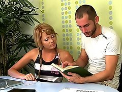 When your tutor is really handsome - it is very hard to resist him, when he touches your tits and pussy... Lucia couldn\\\'t resist him, and she let his huge cock to her nasty pussy...He fucked her juicy cunt very hard, and she enjoyed it! Well, the only one thing she didn\\\'t like - it\\\'s his sperm... But it doesn\\\'t matter - she will get accustomed to this...video