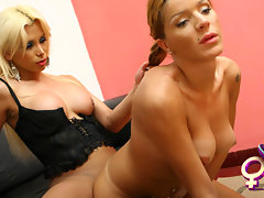 Sheina and Azul are two very nasty Latina chicks with dicks that get pretty steamy in this naughty shemale on shemale fuck fest. These gorgeous tranny hotties begin with some delicious shemale titty worshiping that has Azul fucking Sheina's tantalizing Latina shemale tits. The sexy tranny chicks slowly yet steadily build up their tranny lust that overtakes them and the two models seem to lose themselves in their heated TS lust exchange. Sheina then sucks on Azul's big tranny boobs and squishes them together and runs her long tongue in her beautiful cleavage. The two Latina shemales barely get out of their sexy lingerie and continue their hot petting that ultimately leads to Sheina spreading her sweet transsexual ass cheeks and letting Azul plunder her tight hole making Sheina squeal with shemale delight. The tranny sex scene ends with Sheina sucking all of Azul's creamy shemale cum milking her dry. video