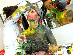 Celine decides to go into all-out bitch mode and start painting her subject up a bit more than she had intended, and when enough is enough Lussy fights back, starting a multi-colored pain cat-fight that ultimately finds these babes on the floor!video
