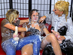 It takes a special kind of slut to take on two intimidating strap-ons, with one deep in her pussy and one deep down her throat, filling her up proper and ruining her holes before she gets ruined by liters of cum pumping out of those cocks and all over her outfit!video
