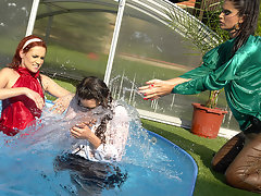 This little wetlook catfight action goes far beyond just slinging water on each other, though, because once Donna gets pushed into the pool it\'s totally on, and all three Eurobabes find themselves wailing away in the pool in some rough and wet madness that only Allwam can dream up!video