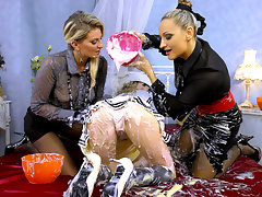 Gina Killmer and Dina have themselves a super interesting and sexy little doll by the name of Mandy Match, who is literally dolled up anime style with the big eyes and stunning face, and they\'re going to slop her up nicely!video