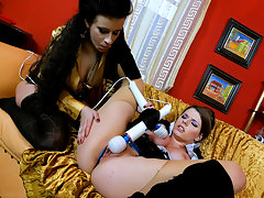 It doesn\'t stop with the dildos for these chicks, as they have two high powered vibrators to bust out on their pussies, and both elegant ladies get their turn being bent over and shoved around in numerous positions as they take the clit buzzing of their lives!video