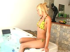 Sexy teen by the hot tub stripping then playing with her pussyvideo