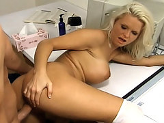 This lucky guy was having a hard time sorting out his income tax returns and to perk him up we called up this busty blonde cheerleader to cheer up his cock. It starts with this buxom vixen sitting on his lap, kissing him and rubbing his face all over her big boobies.video