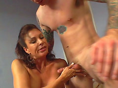 This clip starts with mature milf Vanessa Vidal smothering this hunk with her big boobies, the guy reacts by fondling with it. She showed him more by taking off her underwear and then went down on him and began working his big juicy cock with her mouth.video