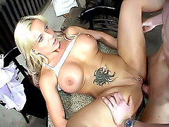 Blonde Lucille is just what we had in mind. Her huge tits would look perfect jiggling and bouncing as she gets fucked from behind. On her back, she would look even sexier as she gets her pierced twat trashed and then end up with a nice titty fucking.video