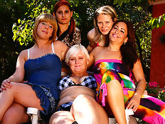 Five old and young lesbians go wet and wildvideo