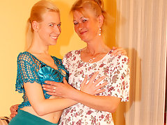 Two blonde old and young lesbians have funvideo