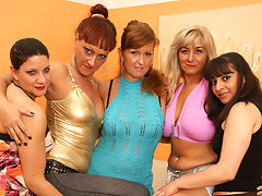 Five old and young lesbians party hardvideo
