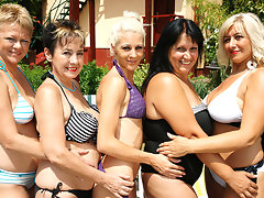 Five old and young lesbians go wild at the poolvideo