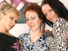 Three old and young lesbians pee and have funvideo