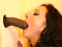 MILF fucked and pissed through the gloryholevideo