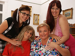 Four horny old and young lesbians make it specialvideo