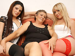 Three naughty old and young lesbians do it on the couchvideo