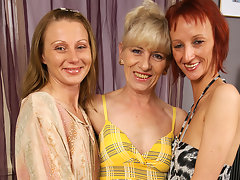 Three mature lesbians party on the couchvideo