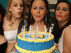 its an old and young lesbian birthday partyvideo