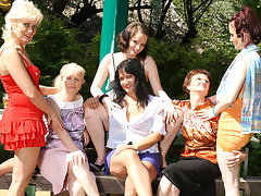 Six horny old and young lesbians have a dirty wet picnicvideo