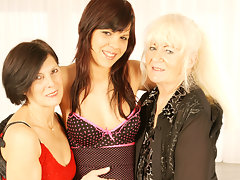 Three naughty old and young lesbians at playvideo