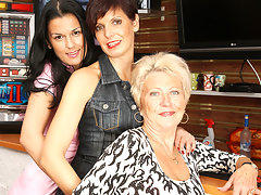 Three old and young lezzies go wild on the massage tablevideo