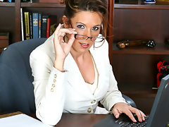 Busty secretary strips in the office and masturbatesvideo