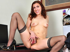 Petite secretary strips off her business suit revealing her hairy twatvideo