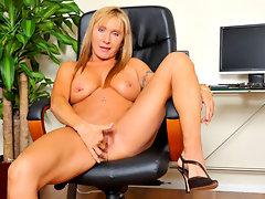 Horny big breasted secretary masturbates in the officevideo
