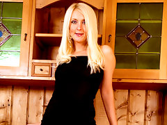 Classy blonde cougar masturbates on top of a cabinetvideo