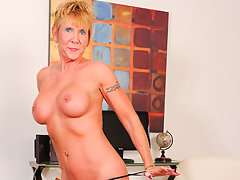 Blue eyed granny takes off her sheer bra and panties to masturbatevideo