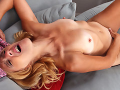 Petite blonde cougar works out her needy pussy after a hard exercise session and gives herself a body shaking orgasm with her fingersvideo