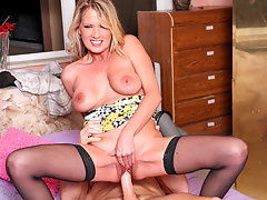 Luscious cougar Bridgette Lee begs to get fucked deeper and harder so she can cum before getting a taste of your jizzvideo