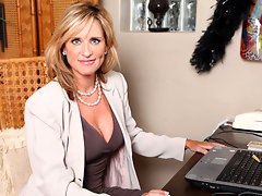 Sophisticated office woman strips and masturbates on breakvideo