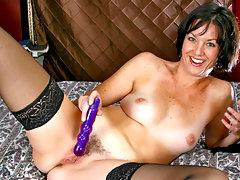 Angelic cougar Katie masturbates while wearing sheer stockingsvideo