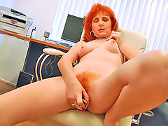 Anilos Sasha Brand power fucks her hairy pussy with a dildovideo