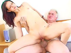 Pretty beauty gets copulated by an old fat manvideo