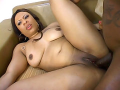 Chunky ebony Candy Love sure loves to ball and here she got lots of it from a huge man meat. She starts by showing off her big butt and took off her clothes while sucking off a mammoth sized cock. Not long after that the guy rammed his dong deep into her gash.video