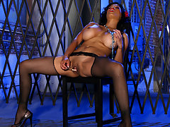 Dark haired Latina goes to town on her pussy with a sex toyvideo