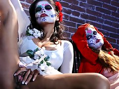 Sexy, busty beauties in mexican make-up touch themselves!video