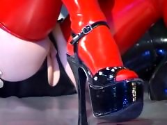 Slutty lesbian slave in latex stockings and high heels Orlova Kupnicka gets body licked by two mistresses video