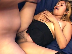 Hirsute chick Melody is looking forward to a hot night with her boyfriend. She wears her sexy corset and net stockings and was soon gobbling up his cock like a hungry chick. She then lies down on the sofa to have her hairy pussy fucked hard.video