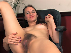 Jackie Paige is a hairy girl with a private office and she decides to make a hirsute porn at work with her webcam playing with her hairy pussy in front of the camera while streaming it live online.video